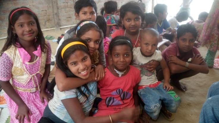 Children at undertree classroom in Rohtak